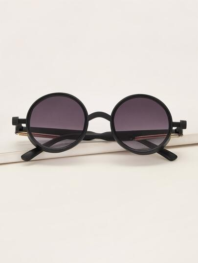 Metal Spring Decor Round Frame Sunglasses With Case
