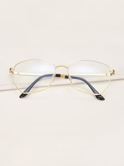 Irregular Metal Frame Glasses With Case
