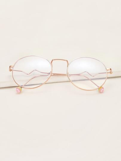 Round Metal Frame Glasses With Case