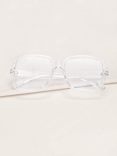 Transparent Square Frame Glasses With Case