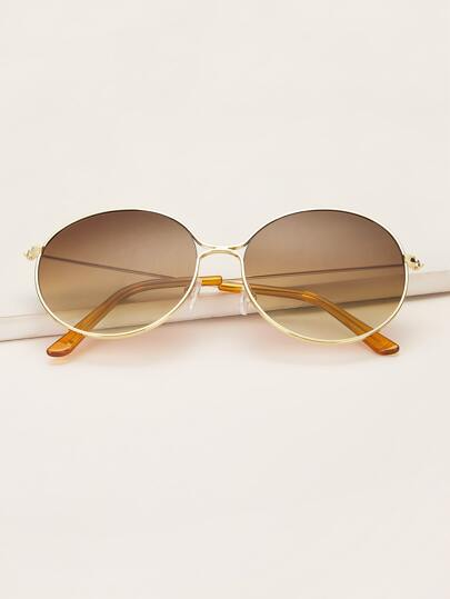 Round Metal Frame Sunglasses With Case