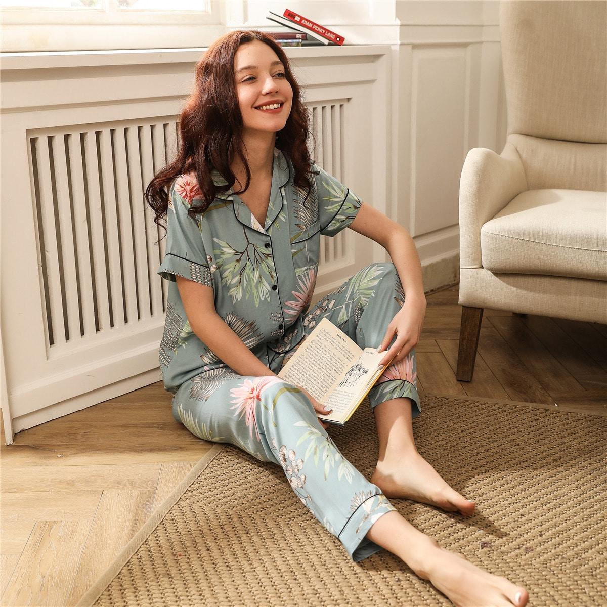 Пижама с тропическим принтом и карманом