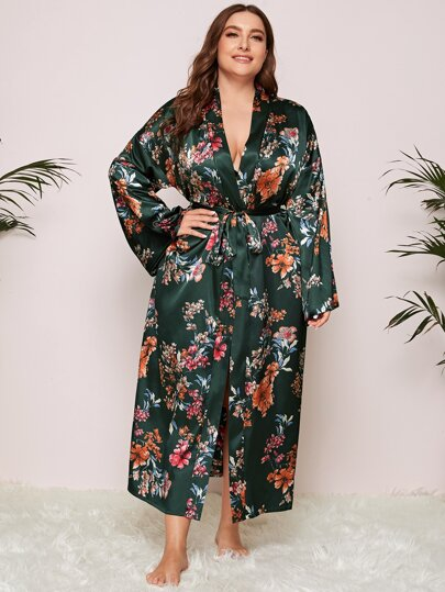 Plus Floral Print Belted Satin Robe