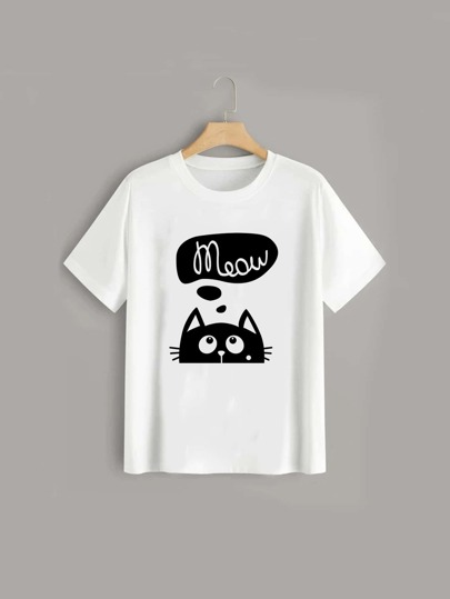 Plus Cat And Letter Graphic Tee