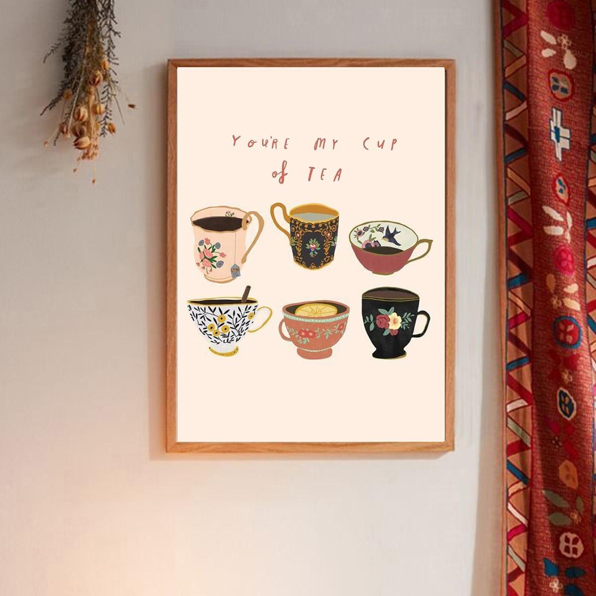 Wandmalerei mit Teetasse Muster ohne Rahmen