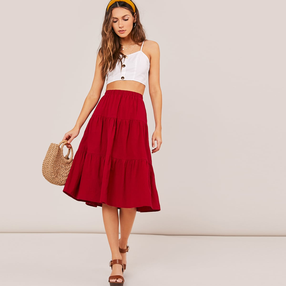 Однотонная юбка с оборками