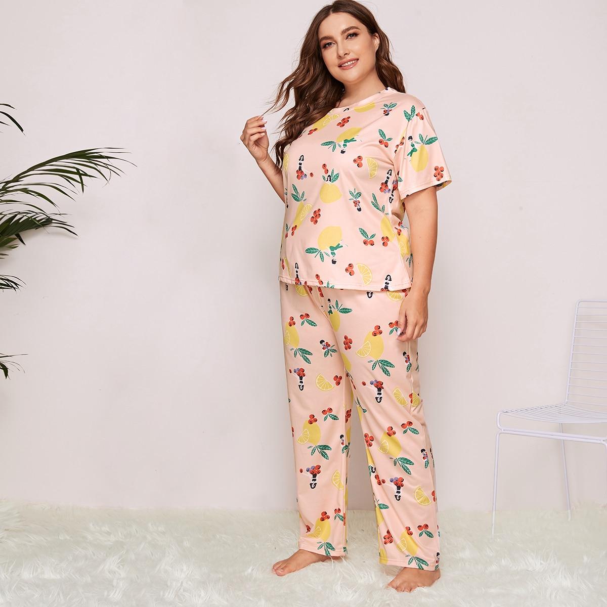 shein Roze  Schattig Fruit & groenten Grote maten pyjama sets