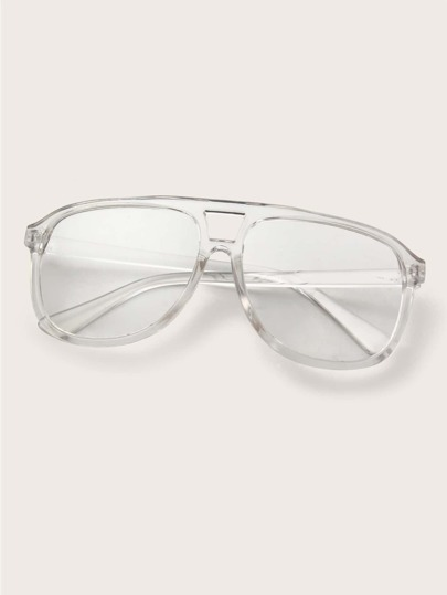 Flat Top Transparent Frame Shield Glasses