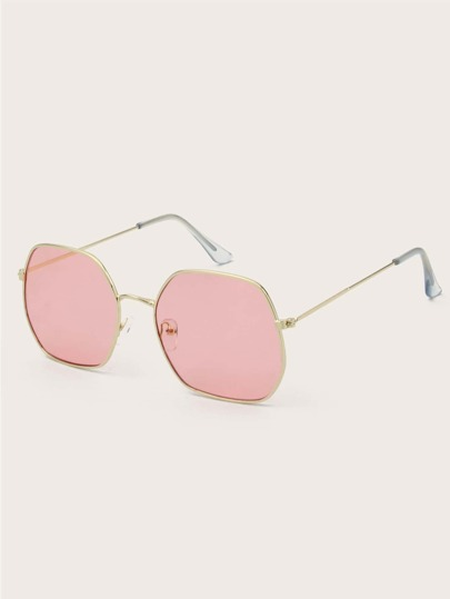 Irregular Metal Frame Sunglasses With Case