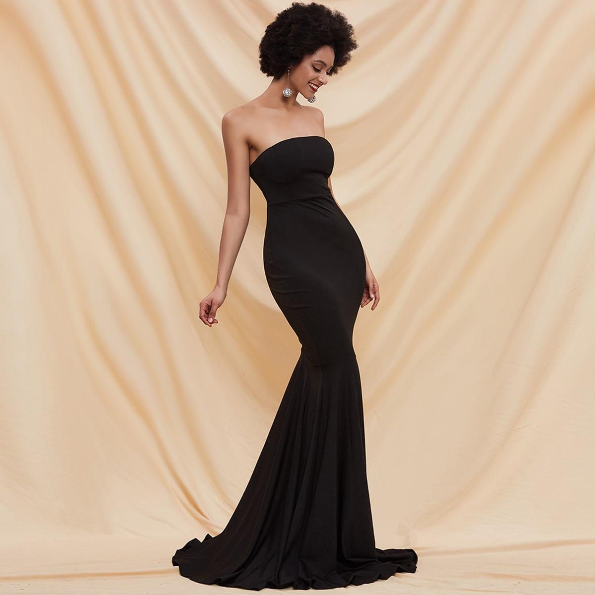 Платье-русалка без бретелек с молнией сзади