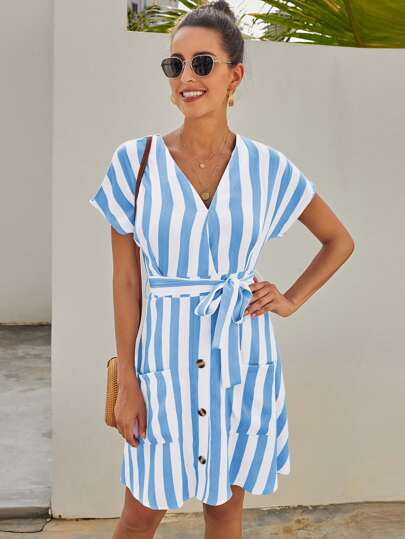 V-neck Button Front Self Tie Striped Dress