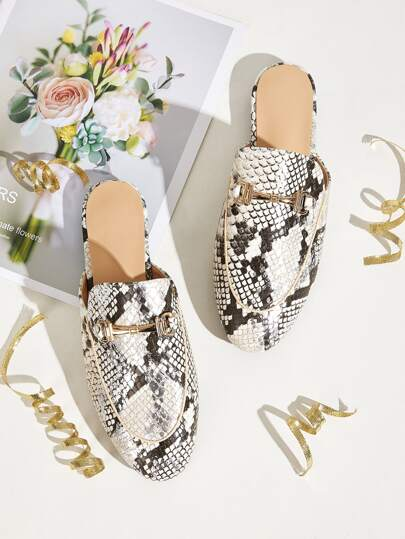 Snakeskin Pattern Metal Decor Flat Mules