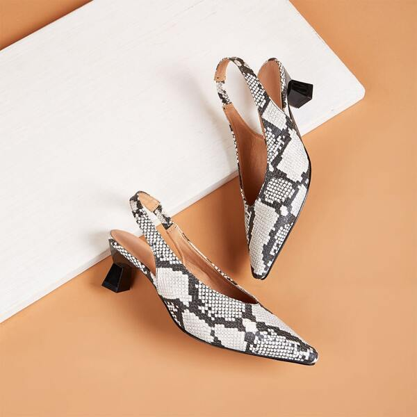 Point Toe Snakeskin Slingback Kitten Heels, Black and white