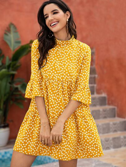 Ditsy Floral Print Flounce Sleeve Smock Dress