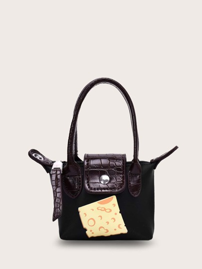 Mini Snakeskin Flap Satchel Bag
