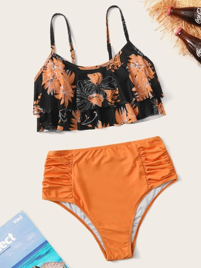 Floral Flounce Ruched High Waisted Bikini Swimsuit