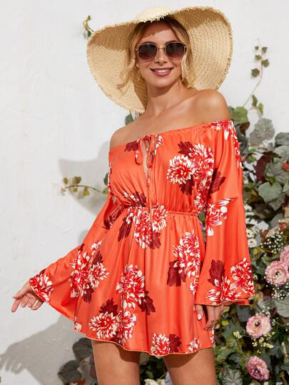 Floral Print Neon Orange Tie Neck Bardot Dress