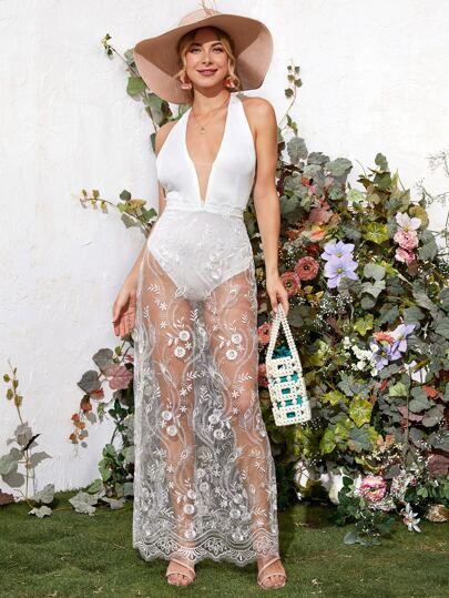 Plunging Neck Backless Bodysuit With Embroidered Mesh Cover Up Skirt