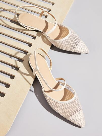 Point Toe Slingback Mesh Flats