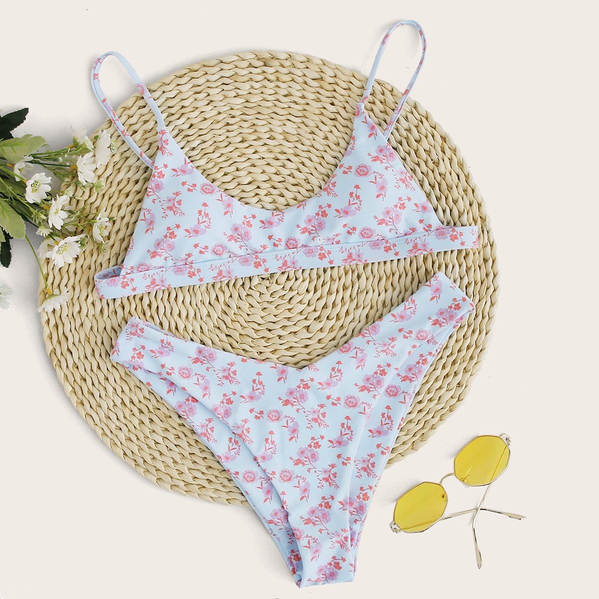 Bikini Set mit Blumen Muster und hohem Ausschnitt