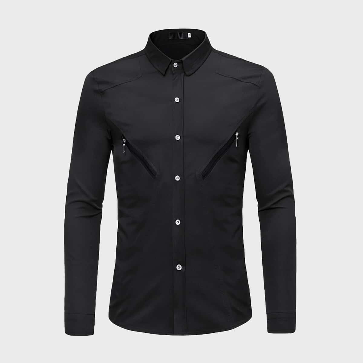 Мужская рубашка с пуговицами и молнией