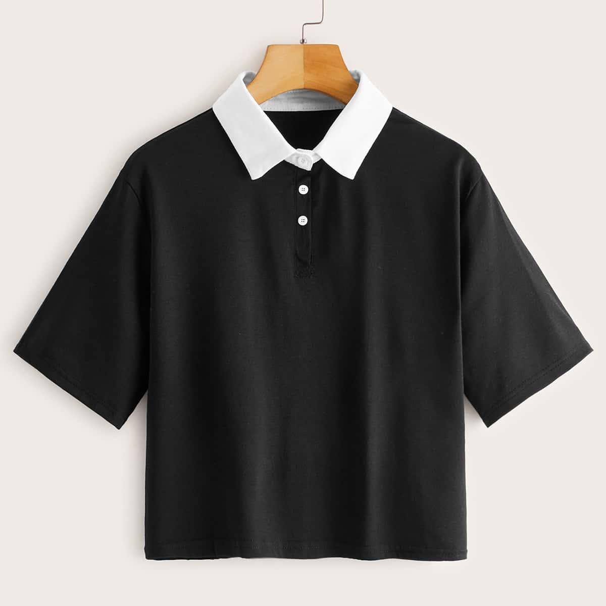 Zwart Casual Kleurblok T-shirt Contracst kraag