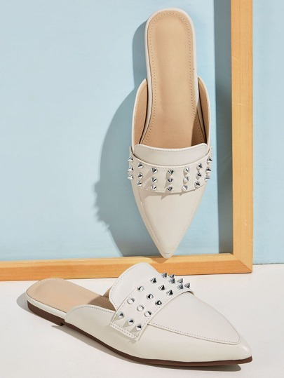 Point Toe Spiked Loafers Mules