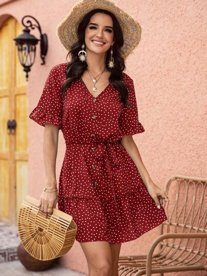 Polka Dot Belted Frill Trim Button Front Dress