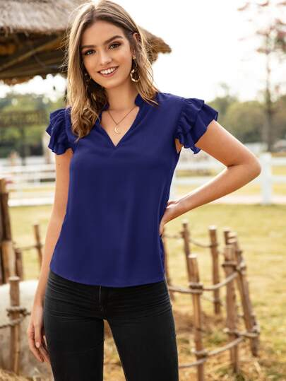 Solid Ruffle Sleeve Notched Neck Blouse