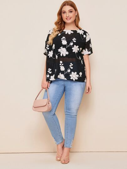 Plus Allover Floral Sheer Mesh Blouse