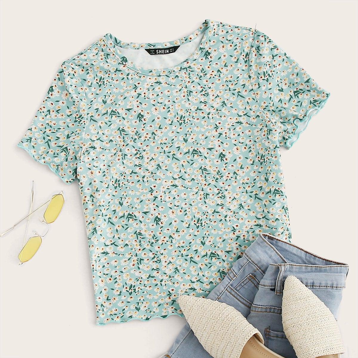 Groen Casual Vrolijke Bloemetjes T-shirt Lettuce trim