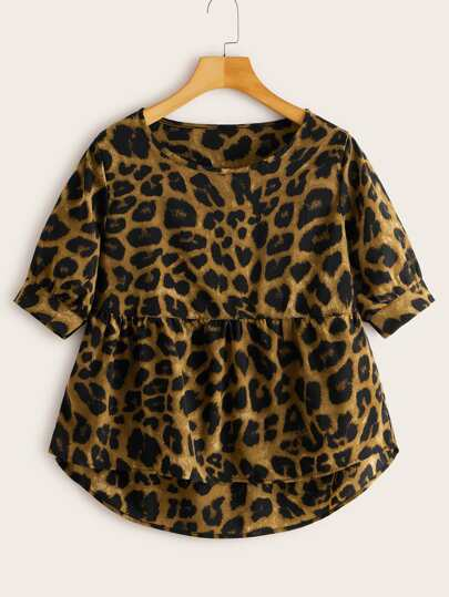 Leopard High Low Babydoll Blouse