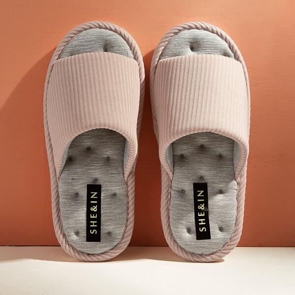 Textured Open Toe Sliders, Pink
