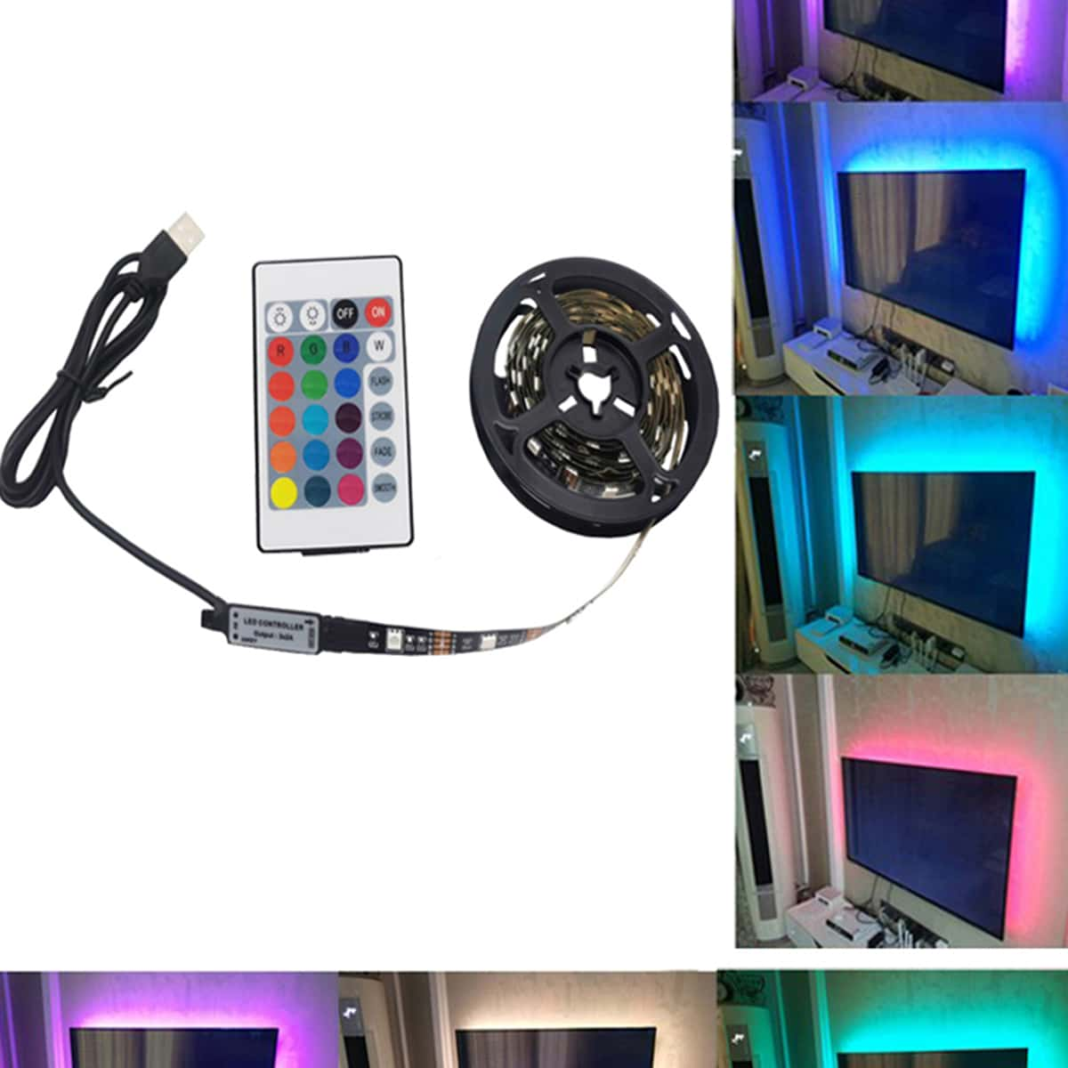 1pc mehrfarbige Lichtleiste mit Fernbedienung
