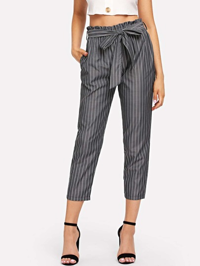 Striped Belted Paperbag Waist Pants