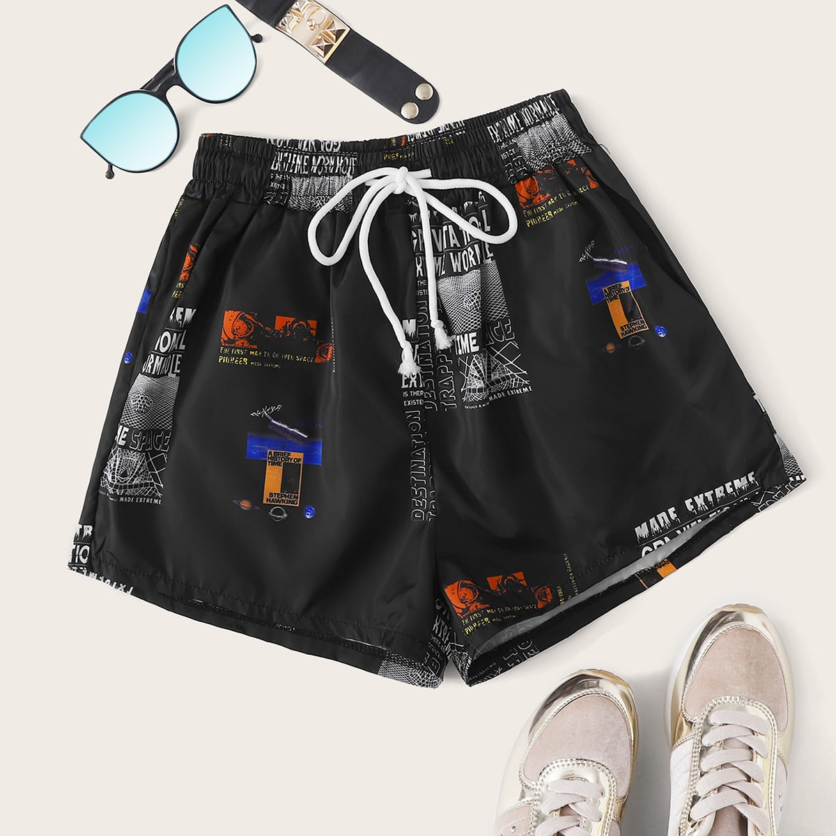 Letter Graphic Drawstring Waist Shorts, SHEIN  - buy with discount
