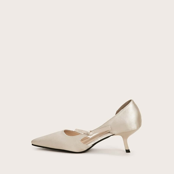 Minimalist Point Toe Stiletto Heels, Gold