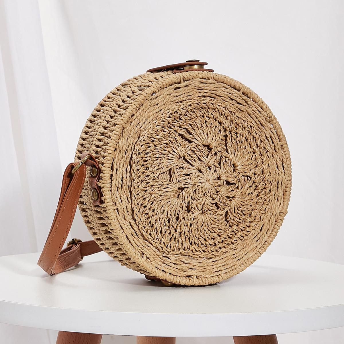 Плетеная круглая сумка через плечо