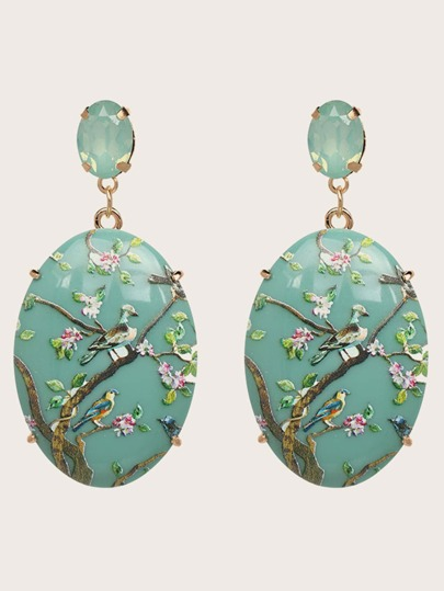 1pair Flower & Bird Engraved Geometric Drop Earrings