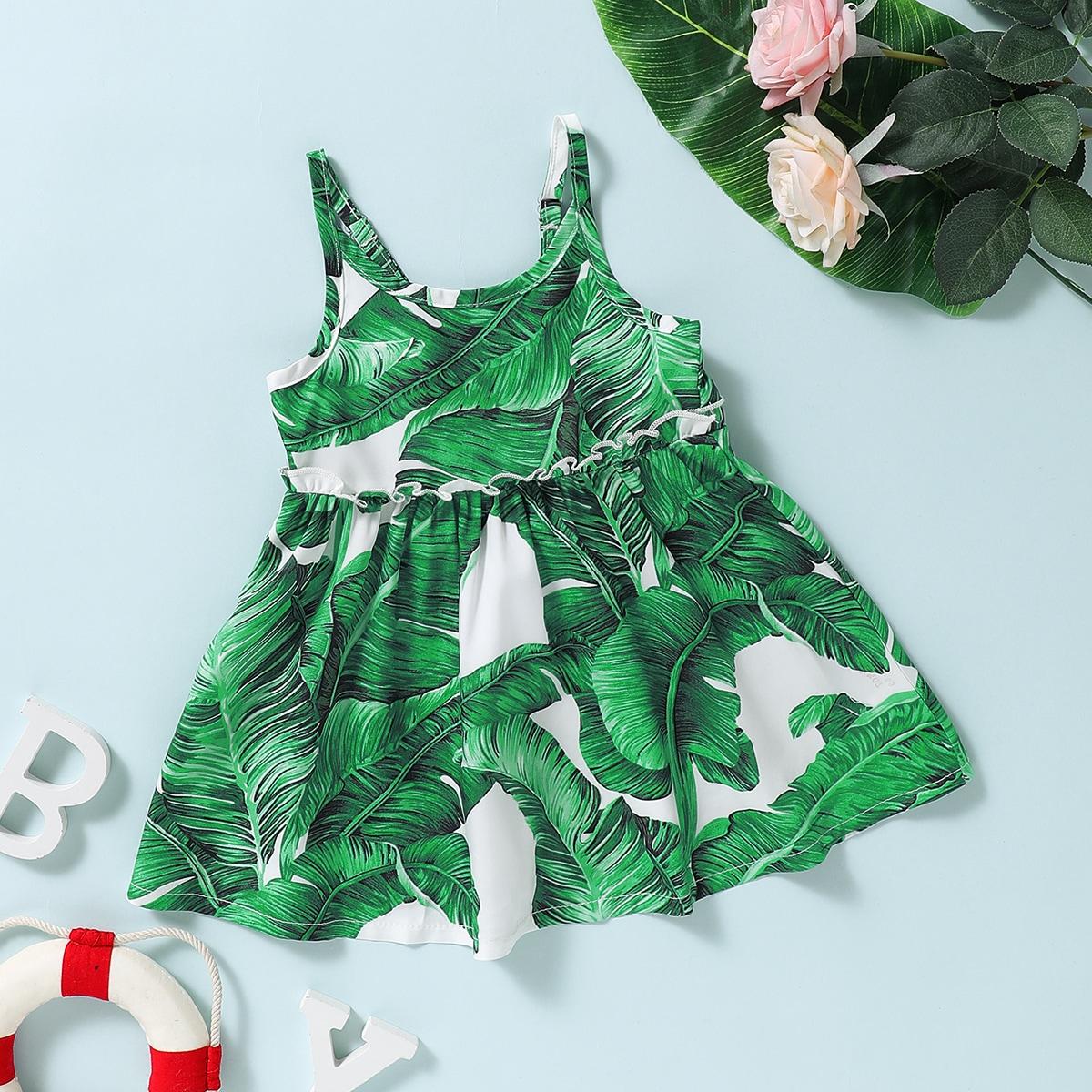 Baby Mädchen Cami Kleid mit Pflanzen Muster und Falten