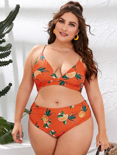Plus Orange Print V-neck High Waisted Bikini Swimsuit