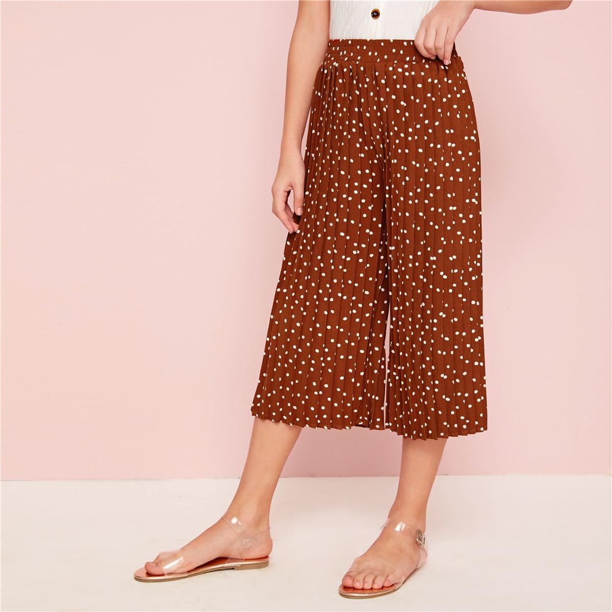 Широкие плиссированные брюки в горошек для девочек