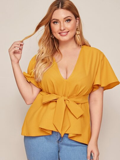 Plus Solid Belted Plunging Neck Chiffon Blouse