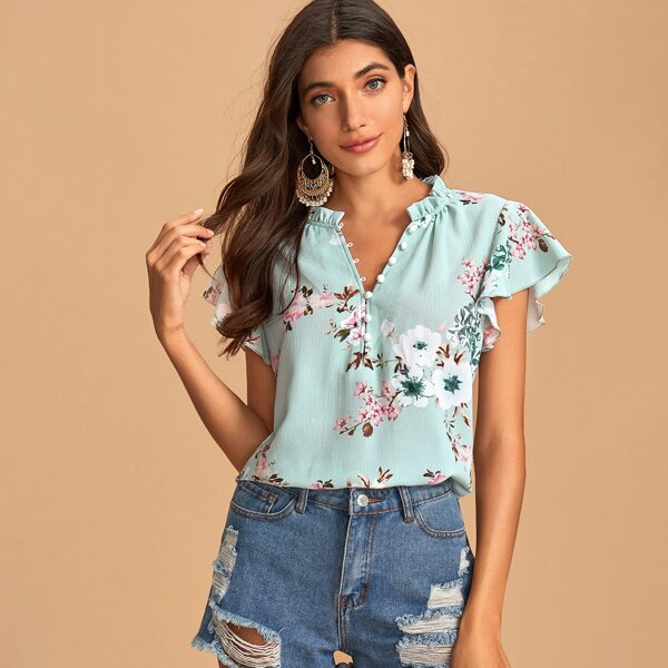 Button Half Placket Butterfly Sleeve Floral Top, Green