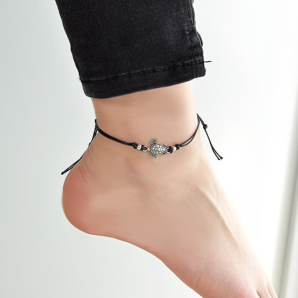 Black Sea Turtle Braided Rope Anklet