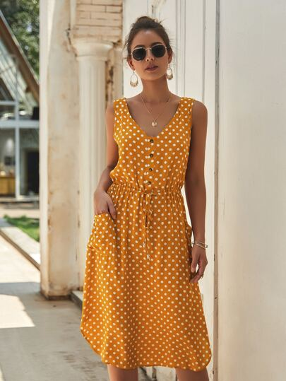 Button Front Polka Dot Drawstring Dress