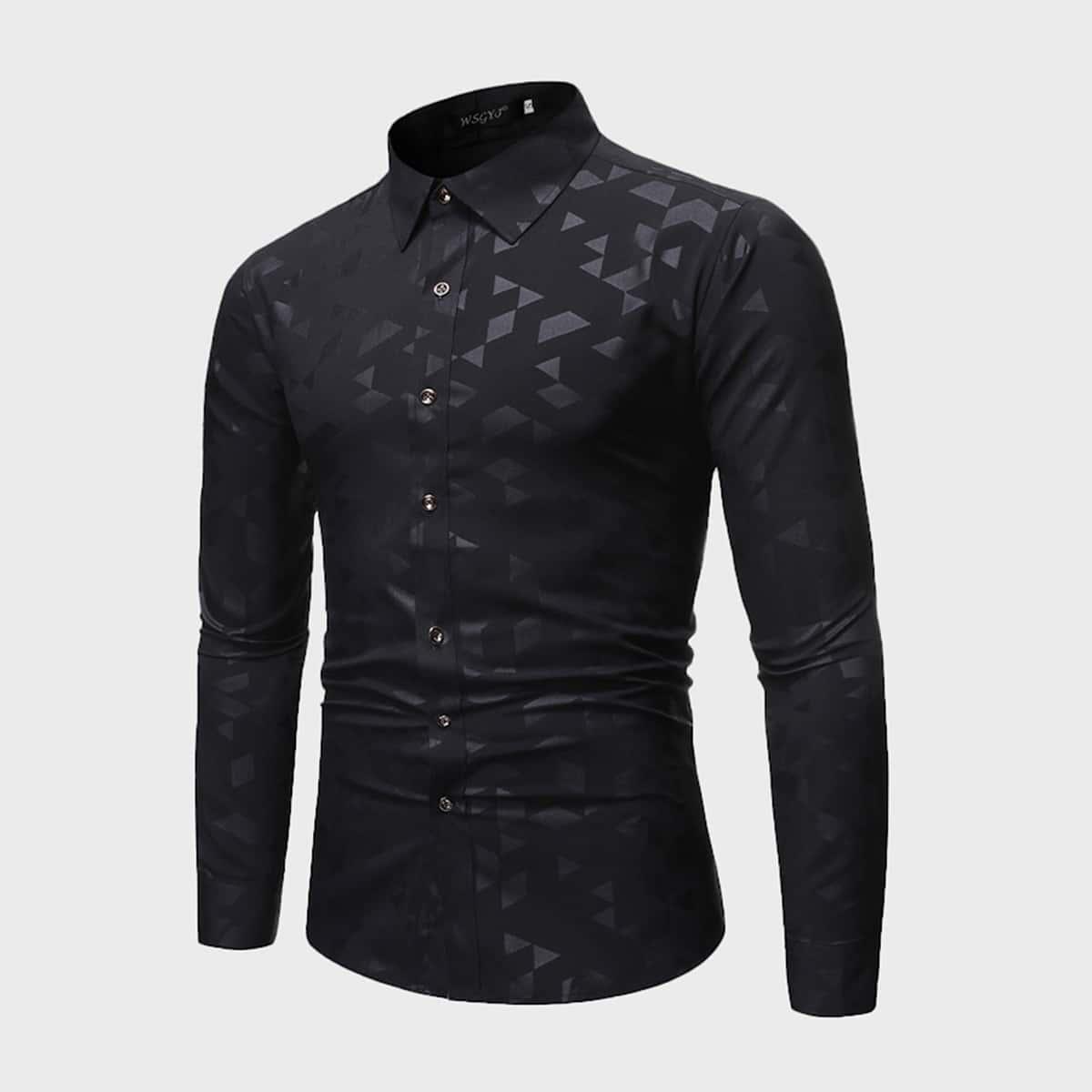 Мужская рубашка с пуговицами и геометрическим принтом