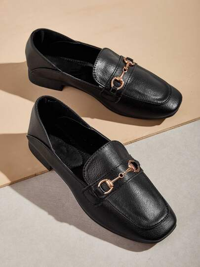 Minimalist Metal Decor Loafers
