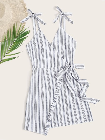 Striped Tie Side Cami Wrap Skirt Dress