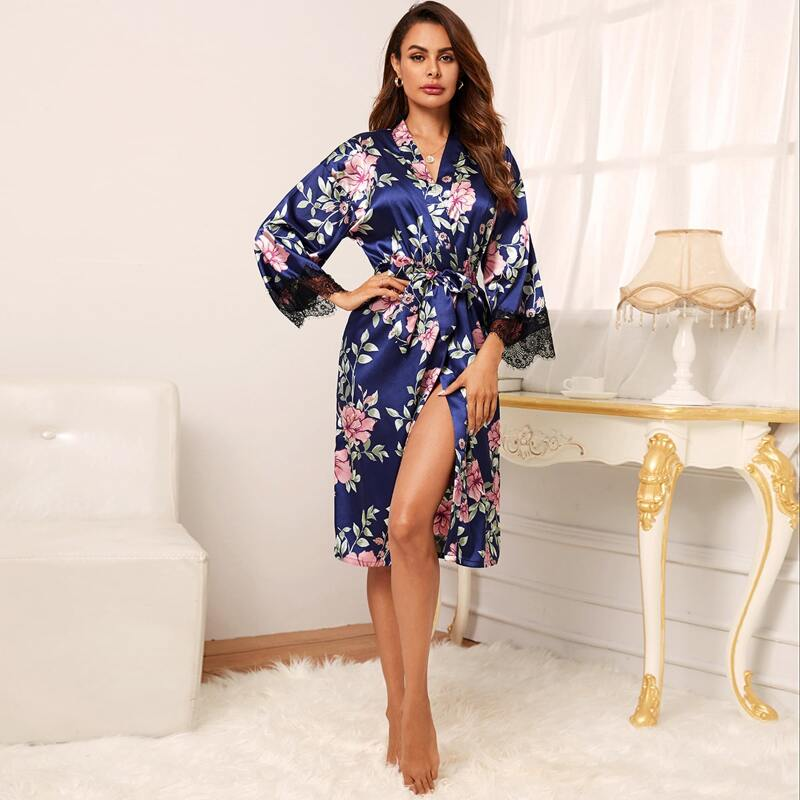 Floral Print Belted Satin Wrap Robe, Navy blue